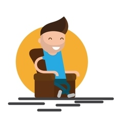Man sitting in armchair vector