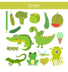 Green learn the color education set of primary vector