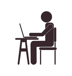 Person using laptop icon vector