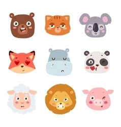 Animal emotion avatar icon vector