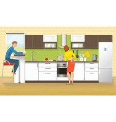 People at kitchen design vector