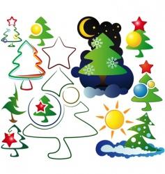 icons and logos christmas trees vector image
