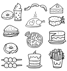 Doodle of food element collection set vector
