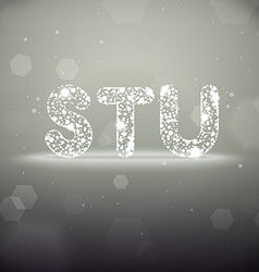 Glowing Font from S to U on Bokeh Backgroun vector image