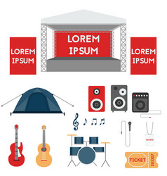 Set of festival or rock music concert elements vector
