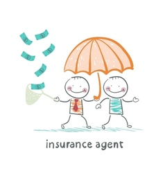 Insurance agent protects human umbrella and vector