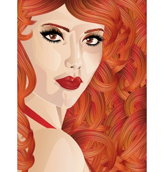 Curly red haired girl vector