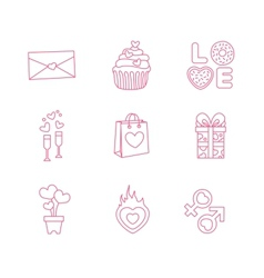 Modern flat icons for valentines day vector