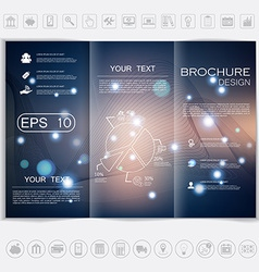 Tri-fold brochure mock up design smooth unfocused vector