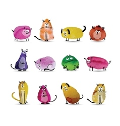 Funny animals set watercolor sketch for your vector