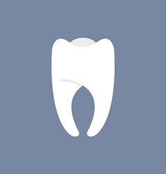 White tooth on a dark background for dentis vector