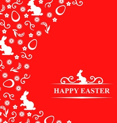 Easter hare flower red vector