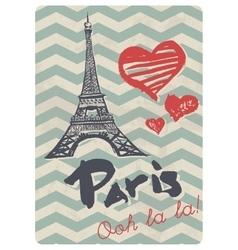 Retro style paris love print vector