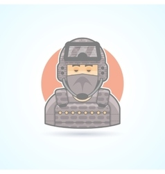 Special forces soldier commando officer icon vector
