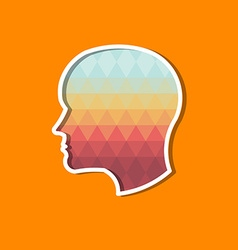 Person head in triangles concept of modernism and vector