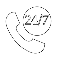 Support call center 24 hours icon outline style vector image