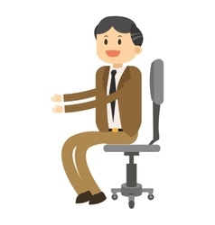 Happy businessman sitting on chair icon vector