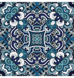 Abstract blue vintage damask paisley seamless vector image vector image