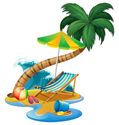 Beach scene with seat and umbrella vector
