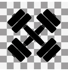 black dumbbell on transparent vector image