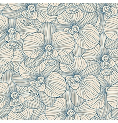 Blue lines orchid seamless pattern vector image vector image