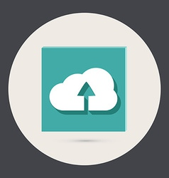 Circle blue icon with shadow cloud download vector image