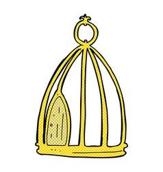 Comic cartoon bird cage vector