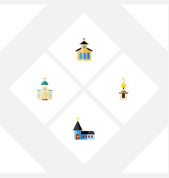 Flat icon building set of catholic christian vector