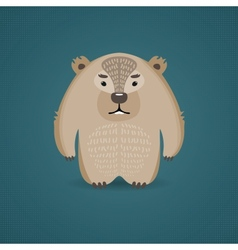 Funny cartoon wombat on dark blue background vector