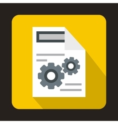 Gears on a paper icon in flat style vector image