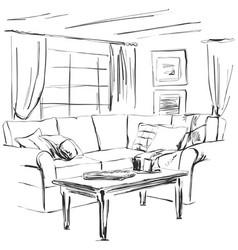 hand drawn room interior sketch sofa table vector image vector image
