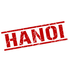 Hanoi red square stamp vector