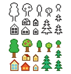 Homes and trees vector