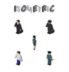 Isometric people set of detective officer vector