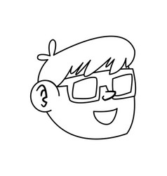 Line nice boy face using 3d glasses vector