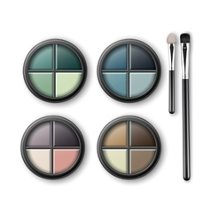Multicolored eye shadows with makeup applicators vector
