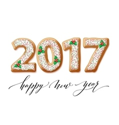 New year 2017 in shape of gingerbread number as vector