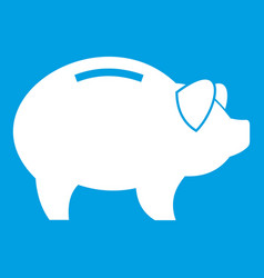 Piggy icon white vector