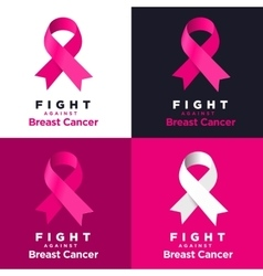 pink ribbon on various backgrounds Fight vector image