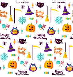 scary halloween party seamless pattern vector image vector image