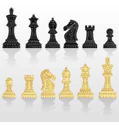 Set of all chess pieces vector