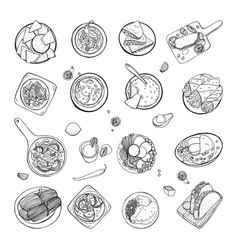 set of mexican traditional food different dishes vector image vector image