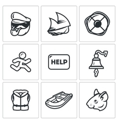 Set of Shipwreck Icons Captain Ship vector image