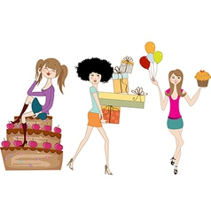 Set of three young girls at birthday party vector