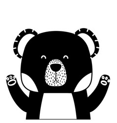 silhouette adorable bear wild animal of the forest vector image