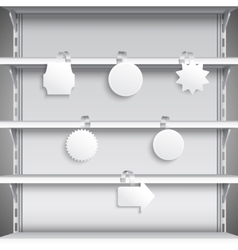 Supermarket shelves with wobblers vector