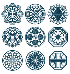 traditional korean symbols korea pattern vector image