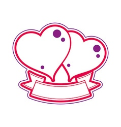 Two loving hearts wedding couple conceptual vector