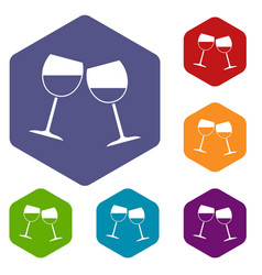 Two wine glasses icons set hexagon vector