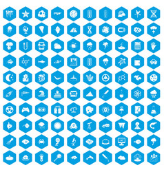 100 research icons set blue vector